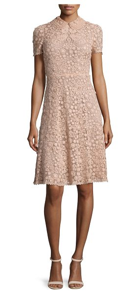 Red Valentino Short-Sleeve Macrame Dress in nude - RED Valentino macrame dress. Peter Pan collar. Short...