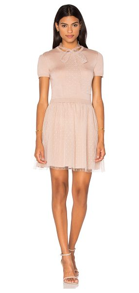 RED VALENTINO Short Sleeve Tulle Sweater Dress - Self: 100% virgin woolContrast Fabric: 100%...