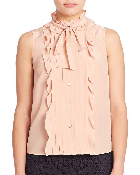 Red Valentino silk ruffle button-front blouse in nude - Ruffles and pleats finish tie-neck silk blouse. Stand...