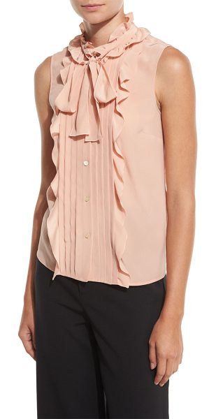 Red Valentino Sleeveless Pintucked & Ruffled Tie-Neck Silk Blouse in nude - RED Valentino silk blouse with ruffled and pintucked...