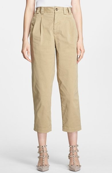 RED VALENTINO stretch cotton gabardine crop pants - The boyfriend silhouette is revamped for upscale urban...