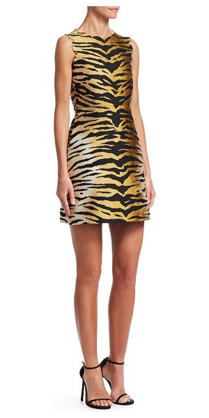 Red Valentino tiger-print dress in camel - Tiger printed dress with scalloped edges Scalloped...