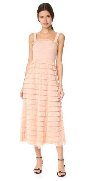 Red Valentino tulle ruffle dress in nude - Dainty ruffles with embroidered pinstripes accentuate...