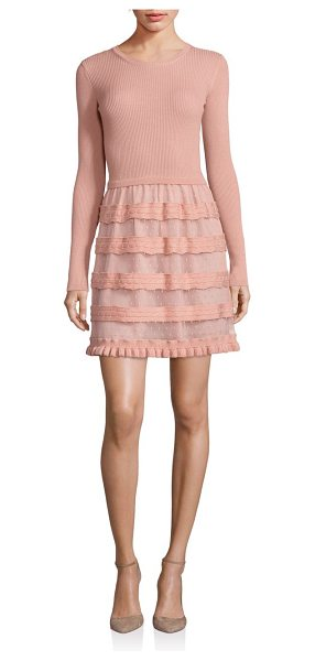 Red Valentino Virgin wool sweater dress in nude - Ribbed bodice completed with point d'esprit skirt. Round...