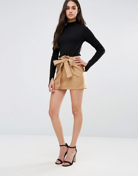 REDREAM Re: Dream Mini Skirt With Tie Waist - Skirt by Re: Dream, Textured woven fabric, High-rise...