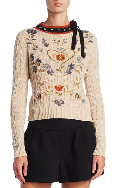 Red Valentino heart print cable-knit sweater in sand - Wool-blend sweater adorned with lace ribbon and round...