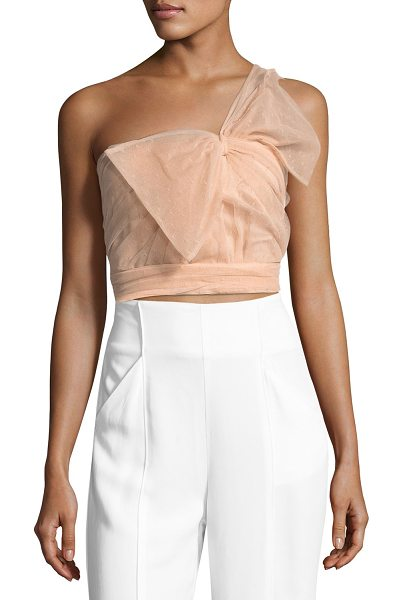 Red Valentino One-Shoulder Bow Faille Top in nude - REDValentino top with pleated point d'esprit faille...