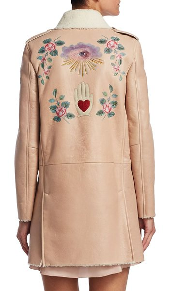 Red Valentino princess shearling leather coat in nude - Shearling leather coat with embroidered design. Point...