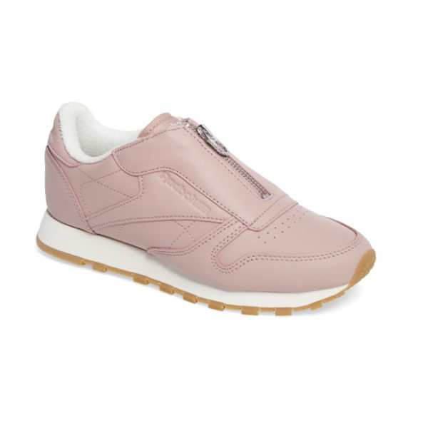 Reebok classic zip sneaker in shell pink/ chalk/ silver - A center zip takes the place of laces on a low-cut...
