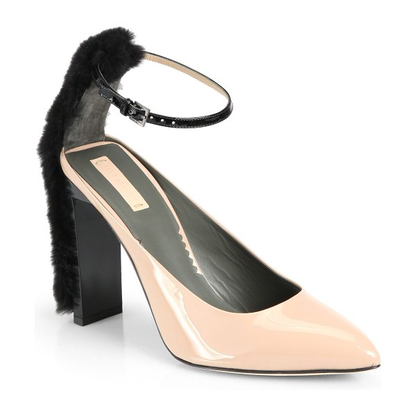 Reed Krakoff Atlas fur & patent leather ankle-strap pumps in beige-black - Chic patent leather pumps place pale against black, with...