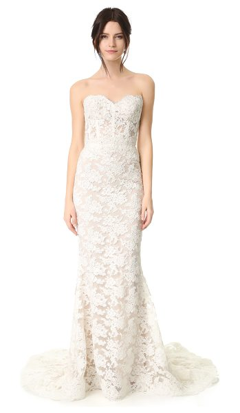 Reem Acra angelica lace strapless gown in cream/nude - This romantic Reem Acra gown is made from delicate lace...