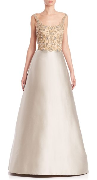REEM ACRA Embellished silk twill gown - Luminous silk twill gown with beaded...