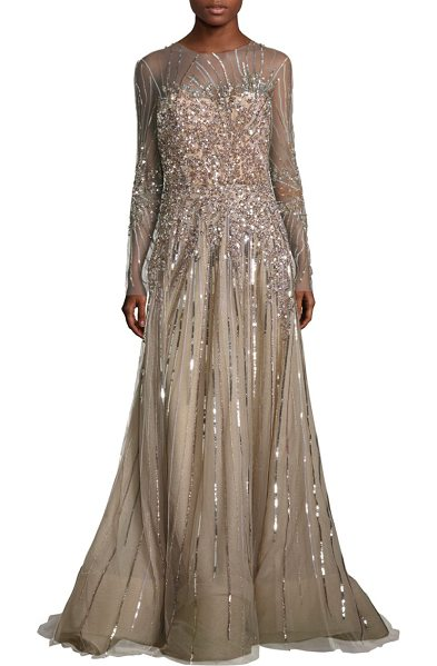 Reem Acra Embellished tulle gown in taupe - Radiant tulle gown with shimmering sequin accents....