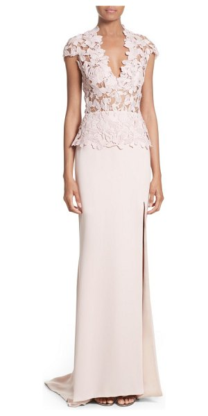 Reem Acra guipure lace & stretch silk sheath gown in pink - A cap-sleeve bodice of sheer-illusion lace brings...