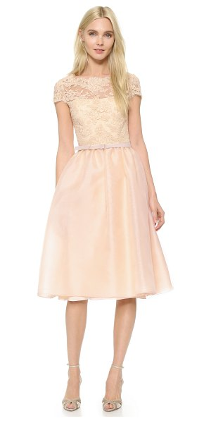 Reem Acra Re embroidered lace cap sleeve dress in powder - This formal Reem Acra dress has a vintage inspired feel...