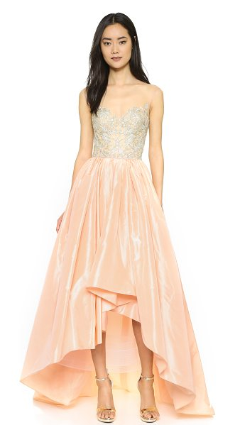 Reem Acra Taffeta high-low gown in blush - This exquisite Reem Acra gown is intricately detailed...