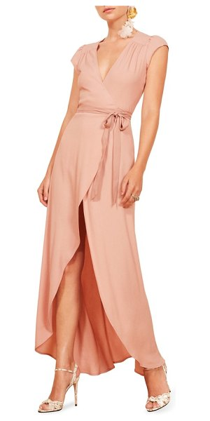 REFORMATION chamomile wrap maxi dress in pink