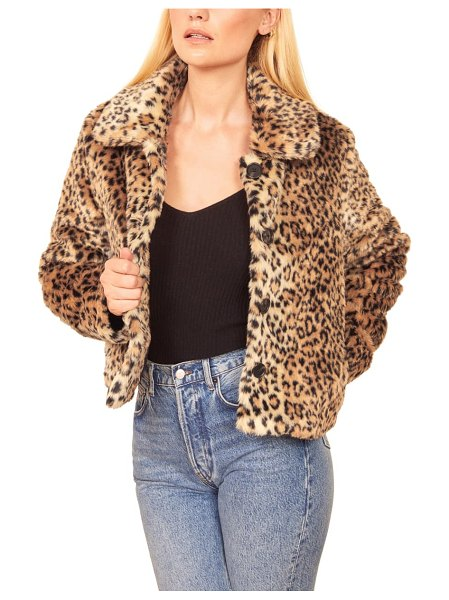 REFORMATION hampton faux fur coat in beige