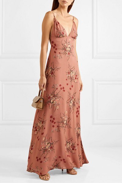 REFORMATION modena open-back floral-print georgette maxi dress in antique rose