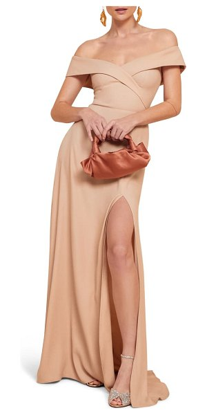 REFORMATION redford off the shoulder side slit maxi dress in beige