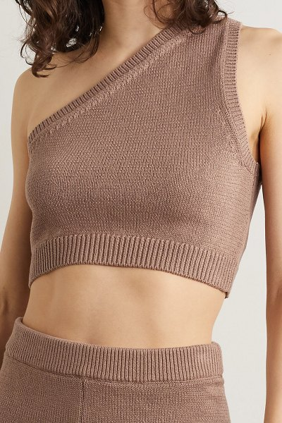 REFORMATION roze one-shoulder organic cotton tank and shorts set in light brown