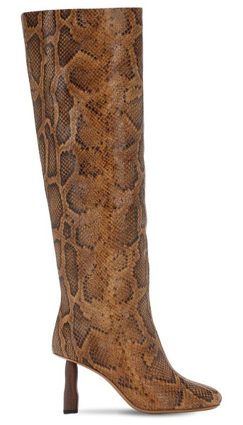 Rejina Pyo 80mm snake print leather tall boots in brown,multi