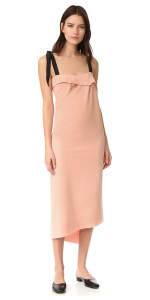 Rejina Pyo agnes dress in blush - NOTE: Sizes listed are UK. A draped overlay and split,...