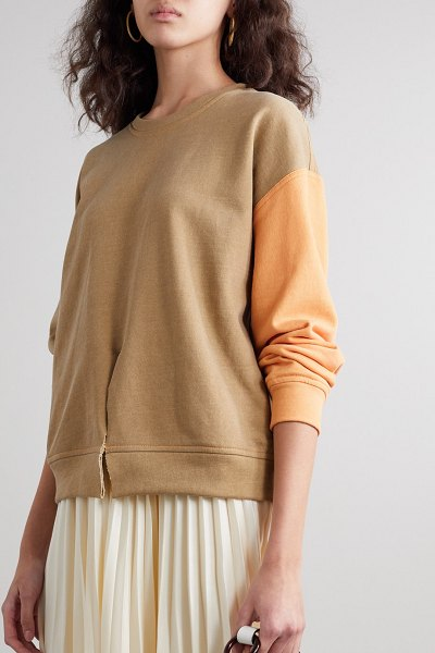 Rejina Pyo charlie two-tone cotton-jersey sweatshirt in neutral