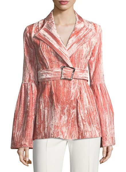 """REJINA PYO Claire One-Button Belted Bonded Velvet Jacket - Rejina Pyo """"Claire"""" blazer in bonded velvet. Shawl..."""