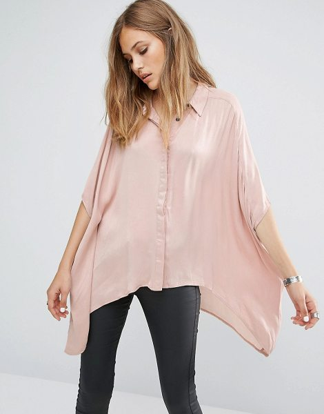 Religion Diffuse dip hem shirt in pink - Top by Religion, Lightweight woven fabric, Silky-feel...
