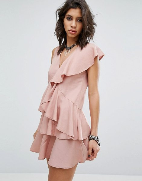 """Religion Dress In All Over Ruffles in pink - """"""""Dress by Religion, Soft-touch woven fabric, V-neck,..."""