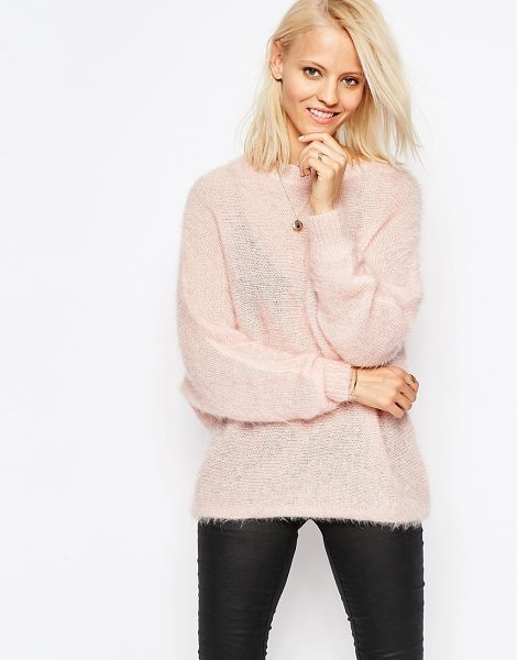 Religion Liason draped sweater in pink - Sweater by Religion, Soft-touch fluffy knit, Lightweight...