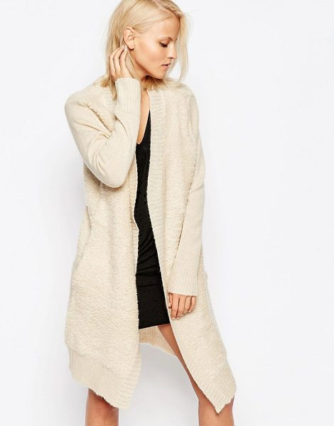 Religion Off beat ribbed cardigan in beige - Cardigan by Religion, Mid-weight wool-mix knit, Open...