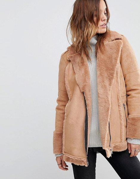 Religion oversized biker jacket with faux fur lining in nude - Biker jacket by Religion, The search for your next...