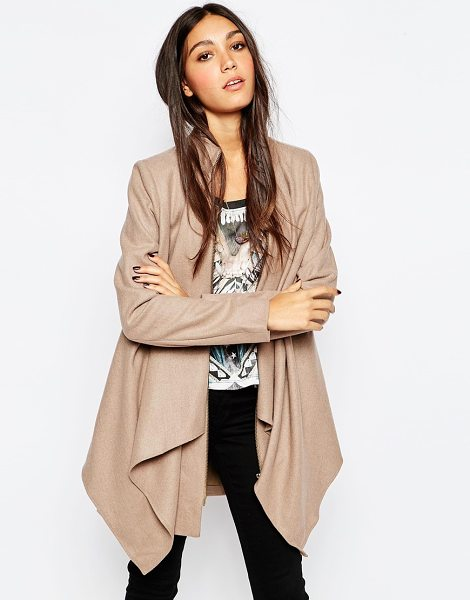 Religion Waterfall coat in taupe - Coat by Religion, Wool-mix woven fabric, Draped...