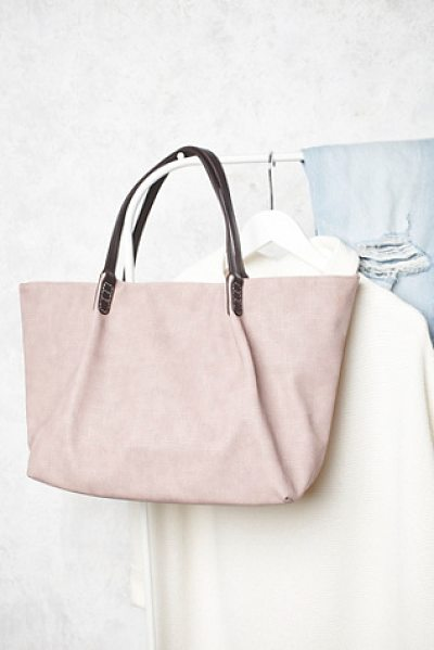 Remi & Reid Washed vegan tote in pink - Generously sized vegan leather tote with a snap closure...