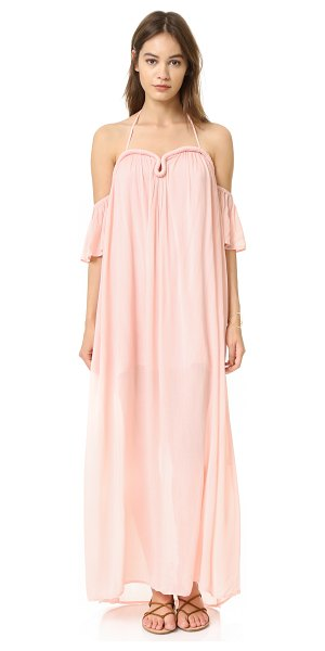 re:named crinkle curve flutter sleeve maxi dress in blush - This airy re:named maxi dress is crafted with wrapped...