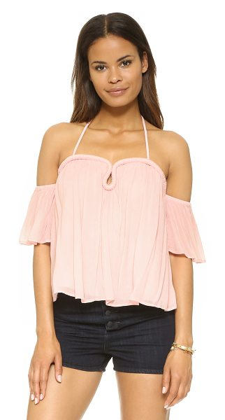 re:named Re:Named Crinkle Curve Top in blush - A shoulder baring re:named top with a sweetheart...