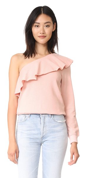 re:named re: named goin gaga sweatshirt in blush - This casual re: named one-shoulder sweatshirt is styled...