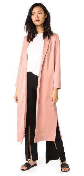 re:named re: named long trench coat in rose - This luxurious sateen re: named trench coat cuts a slim...