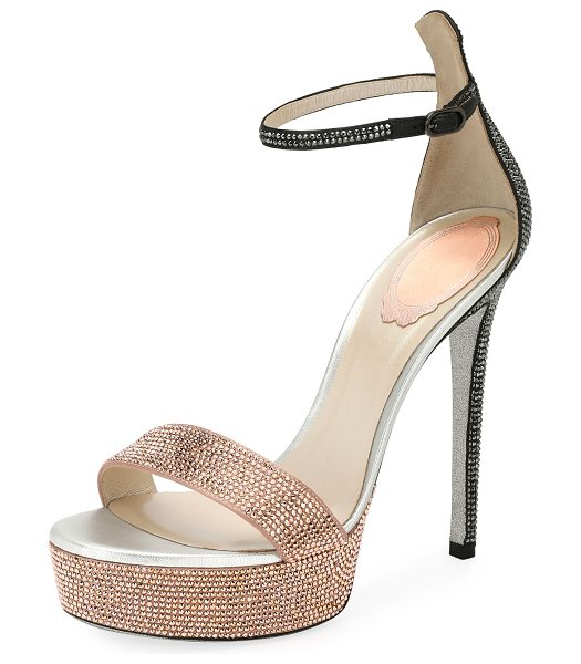 Rene Caovilla 130mm Crystal-Studded Satin Platform Sandal in beige
