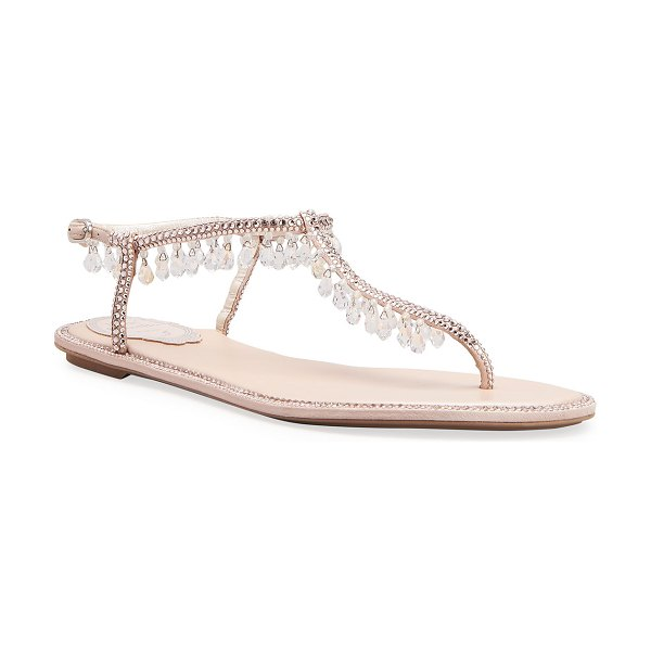 Rene Caovilla Chandelier Crystal Flat Thong Sandals in nude