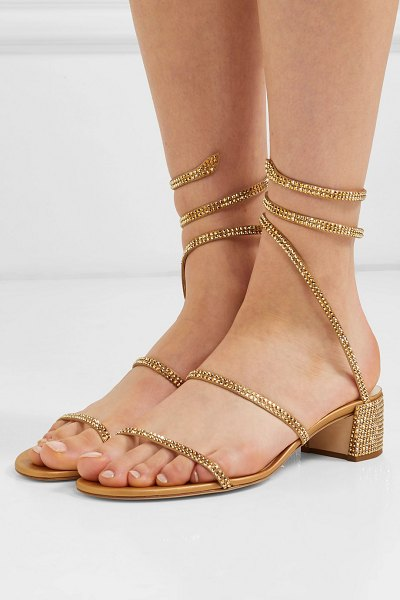 Rene Caovilla cleo crystal-embellished satin and leather sandals in gold