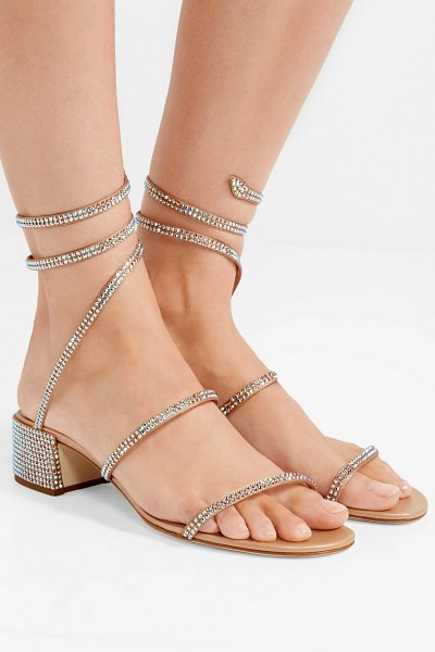 Rene Caovilla cleo crystal-embellished satin sandals in beige - It takes about 40 steps to create one pair of René...