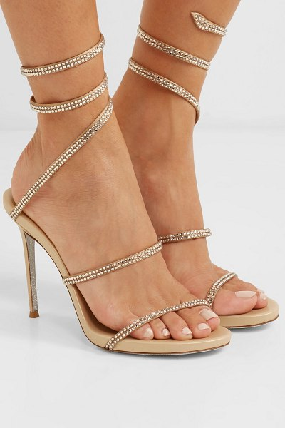 Rene Caovilla cleo crystal-embellished satin sandals in gold - Gal Gadot stepped out in René Caovilla's 'Cleo' sandals...
