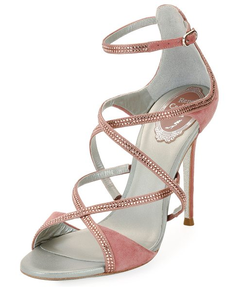 Rene Caovilla Crisscross Crystal Suede Sandals in rose - Rene Caovilla suede sandal with crystal-beaded trim....