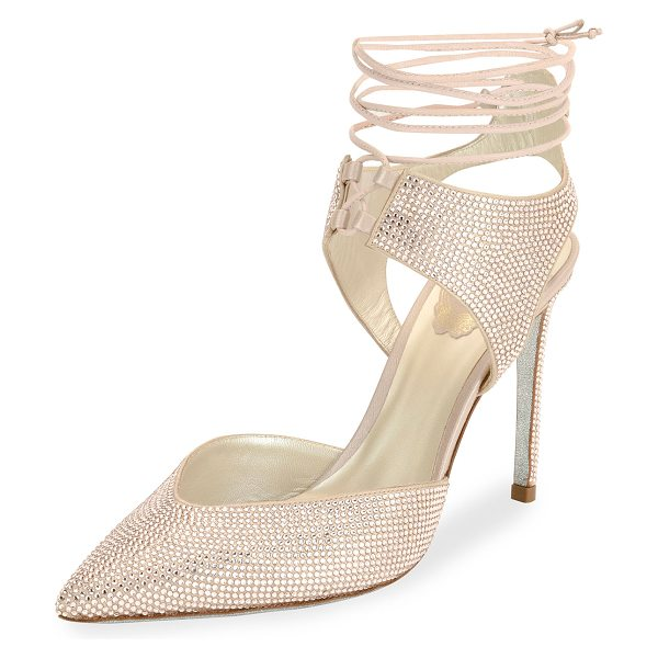 Rene Caovilla Crystal Beaded Satin Ankle-Tie Pump in beige
