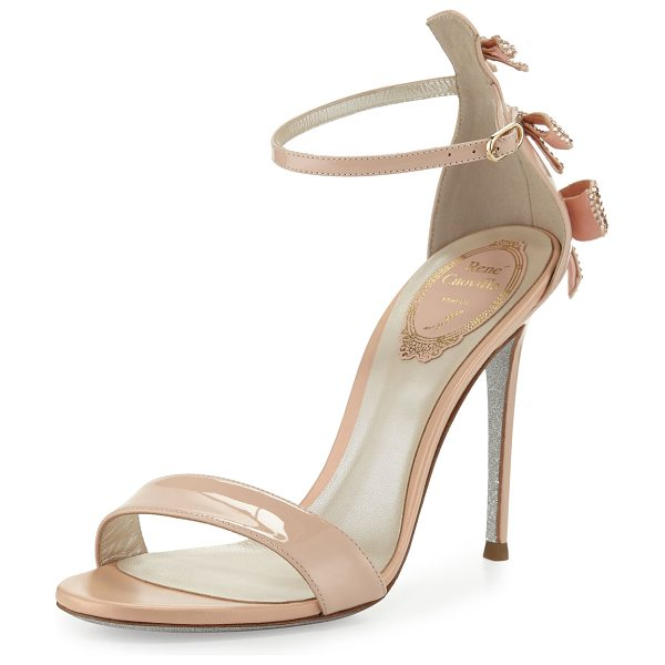"Rene Caovilla Crystal-Bow Patent 105mm Sandal in neutral - Rene Caovilla patent leather sandal. 4.1"" covered heel...."