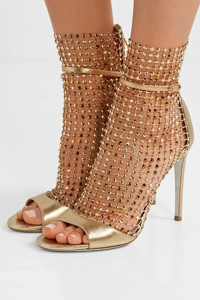 Rene Caovilla crystal-embellished mesh and metallic leather sandals in gold