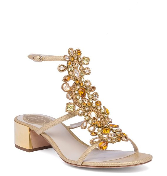 Rene Caovilla crystal-embellished snakeskin t-strap block heel sandals in gold